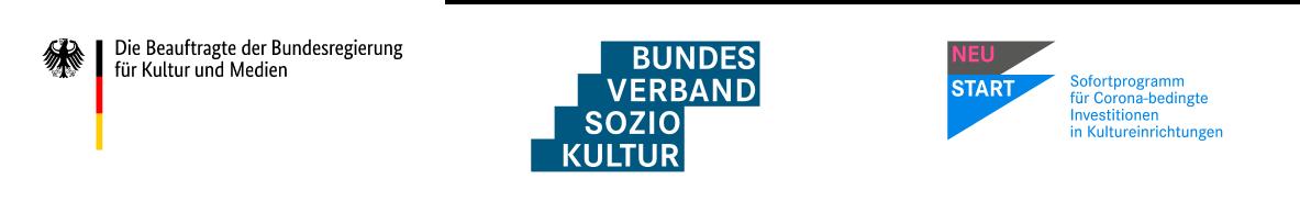 Logo »NEUSTART Sofortprogramm für Corona-bedingte Investitionen in Kultureinrichtungen«
